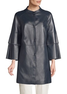 Elie Tahari Tatum Embellished Leather Topper Coat