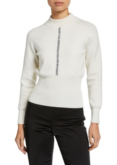 Elie Tahari Tatum Mock-Neck Wool Sweater with Metallic Trim