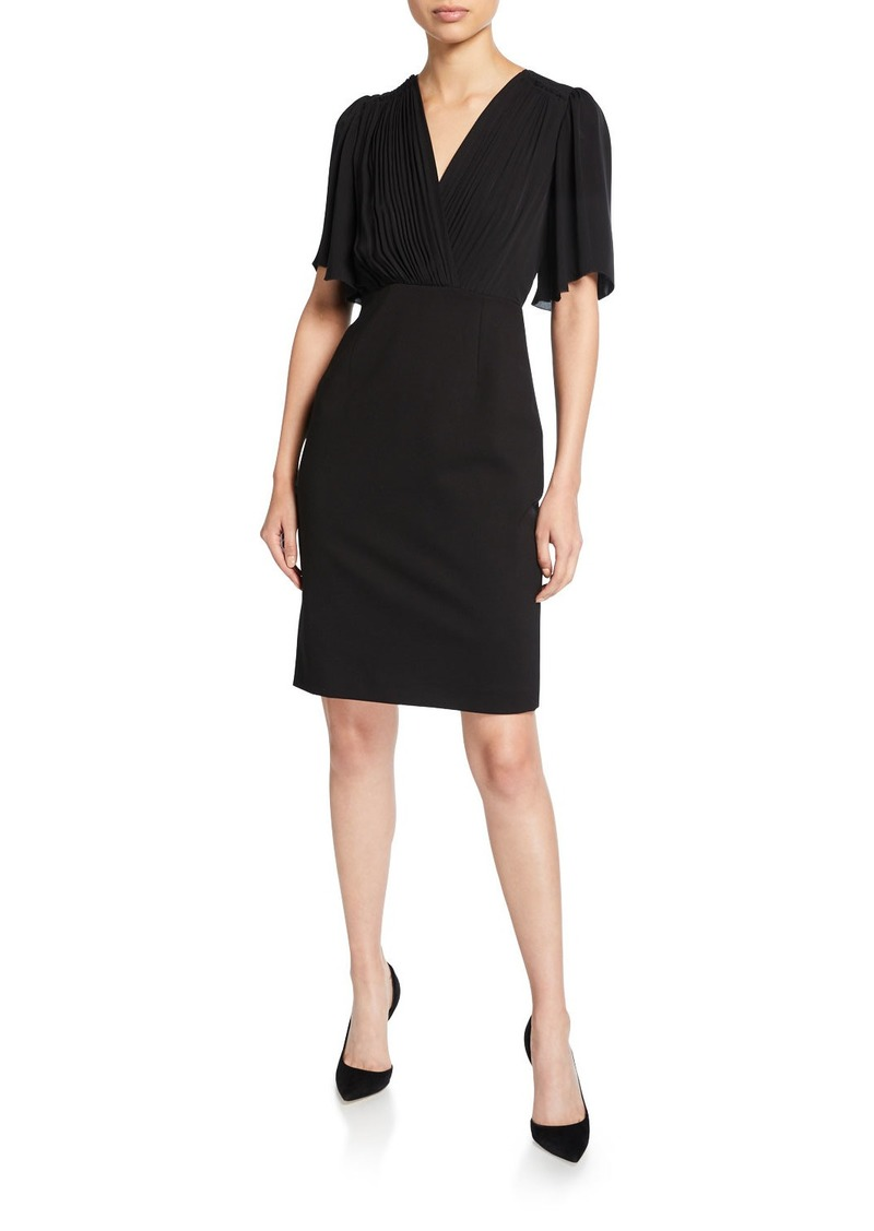 Elie Tahari Tavara V-Neck Elbow-Sleeve Ponte Dress