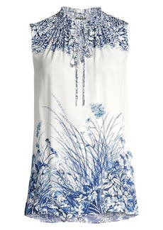 Elie Tahari Teagan Floral Sleeveless Blouse