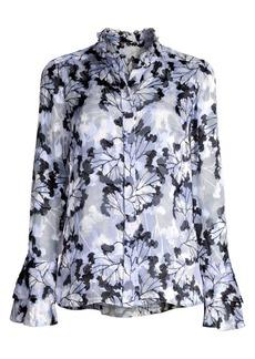 Elie Tahari Teddi Floral Stretch Silk Blouse