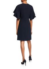 Elie Tahari Theodore Flutter-Sleeve Keyhole Dress