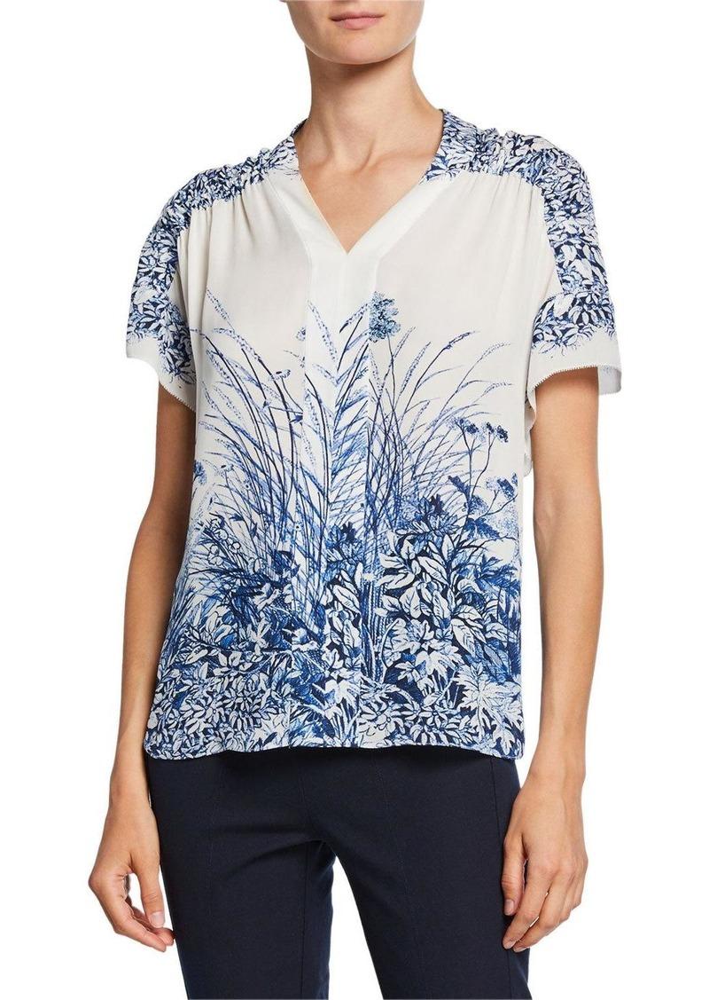 Elie Tahari Tiffany Floral-Print V-Neck Short-Sleeve Silk Blouse