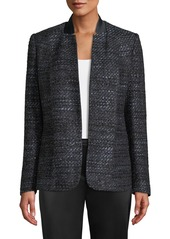 Elie Tahari Tori Hook-Front Metallic Tweed Jacket