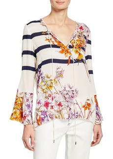 Elie Tahari Ulrika Striped Floral-Print Long-Sleeve Blouse