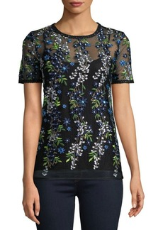 Elie Tahari Val Embroidered Overlay Top