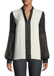 Elie Tahari Valere Two-Tone Silk Blouse