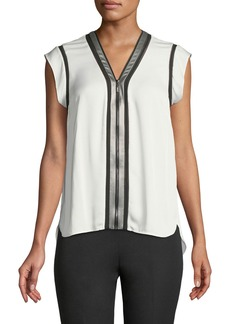 Elie Tahari Vallie Zip-Front Silk Blouse