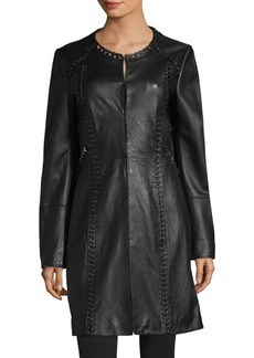 Elie Tahari Veeda Embellished Leather Jacket