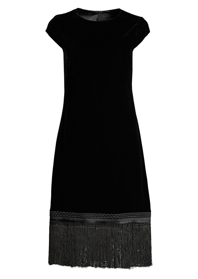 Elie Tahari Velvet Fringe Trim Shift Dress