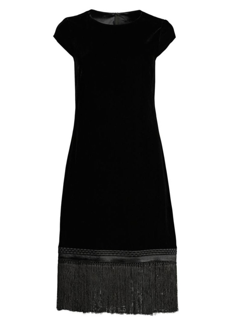 Elie Tahari Velvet Fringe Trim Shift Dress