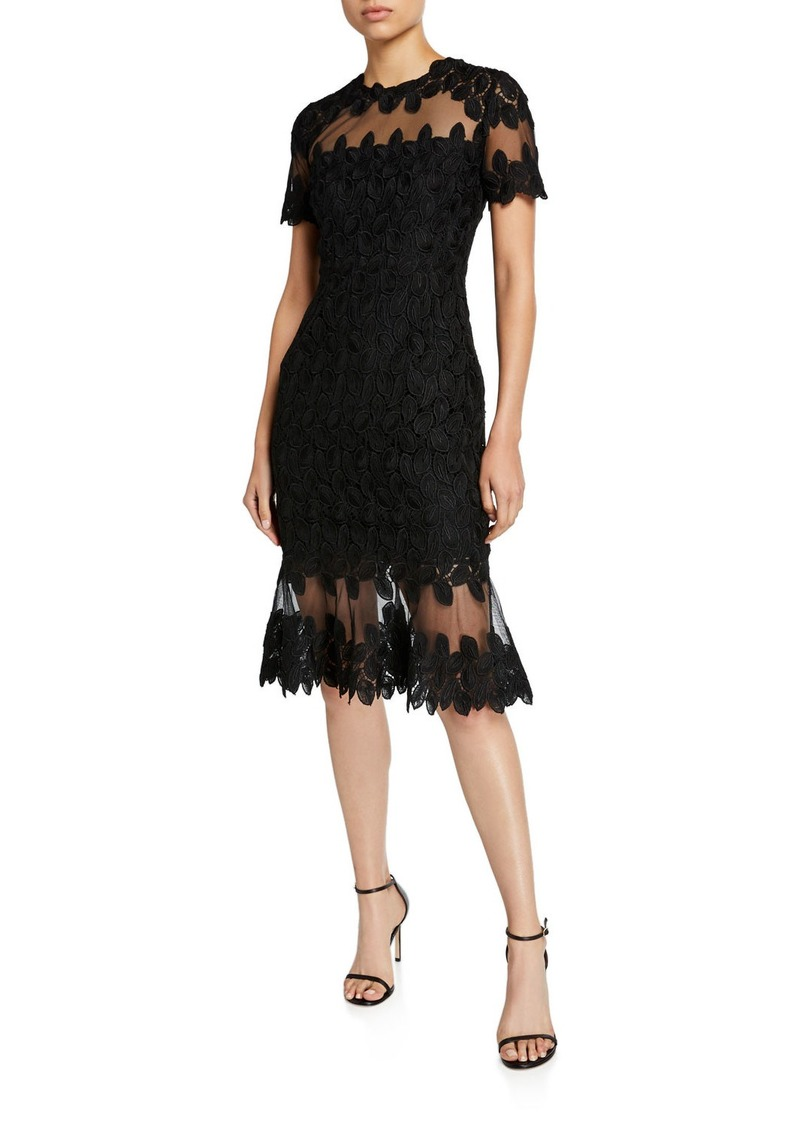 Elie Tahari Venus Floral Lace Short-Sleeve Mesh Inset Dress