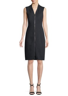 Elie Tahari Verdie Zip-Front Sleeveless Dress
