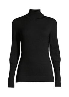 Elie Tahari Vita Wool-Blend Cutout Mockneck Sweater