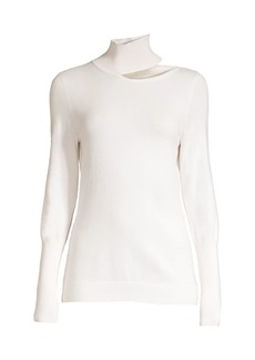 Elie Tahari Vita Wool-Blend Cutout Mockneck Sweater
