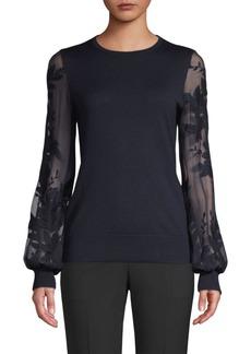 Elie Tahari Waneta Wool & Silk Embroidered Sweater