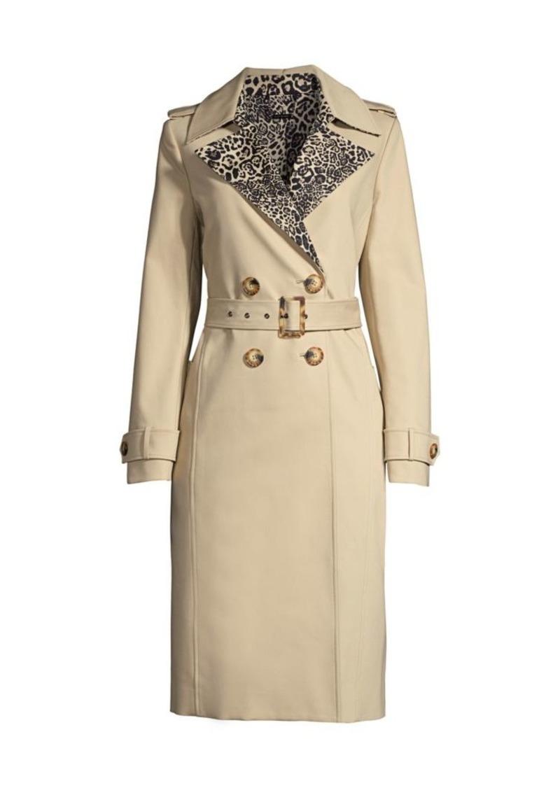 Elie Tahari Watson Leopard-Print Trench Coat
