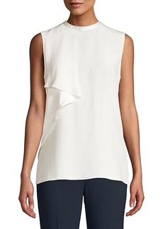 Elie Tahari Whitney Sleeveless Ruffle Silk Blouse