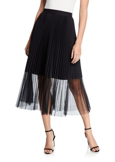 Elie Tahari Yanet Pleated Midi Skirt with Sheer Overlay