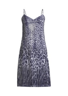 Elie Tahari Yesmina Metallic Leopard-Print Shift Dress