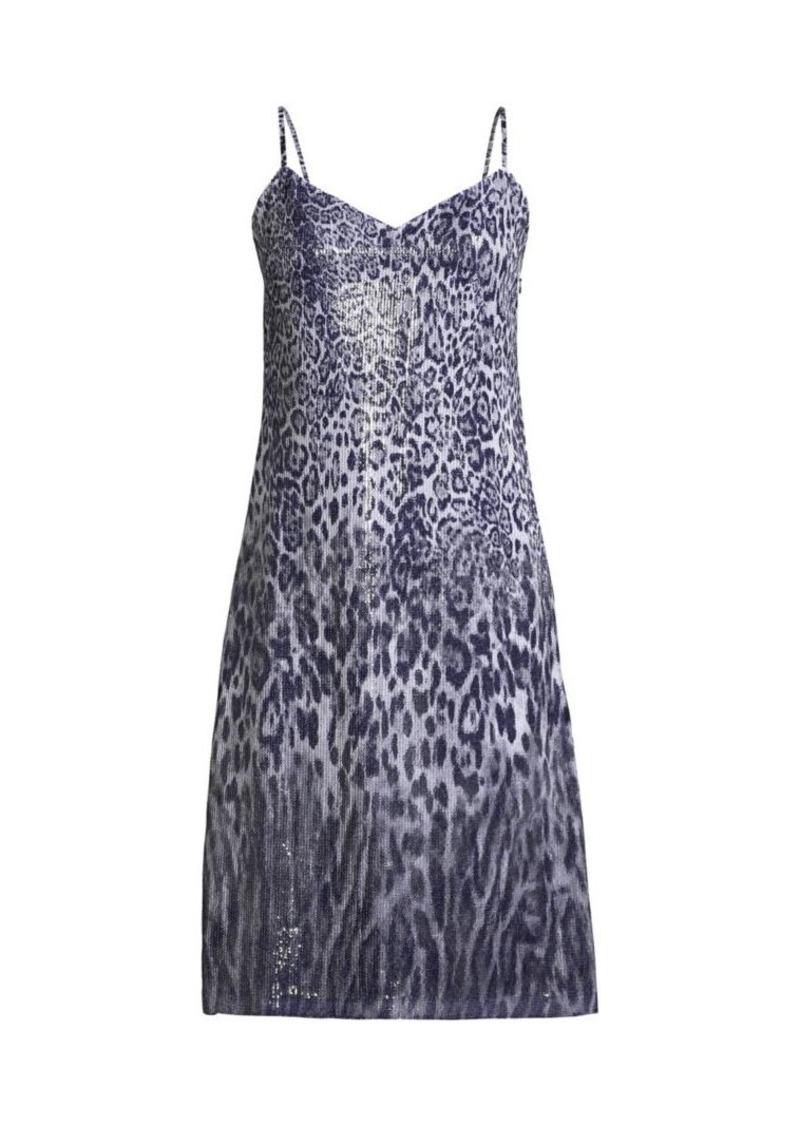 Elie Tahari Yesmina Metallic Leopard-Print Shift Dress