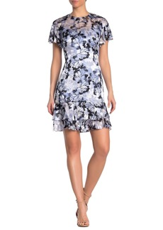 Elie Tahari Yonica Floral Flutter Sleeve Dress