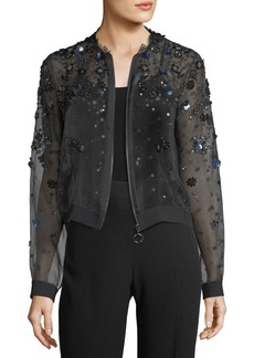Elie Tahari Zarinah Sheer Embellished Silk Jacket