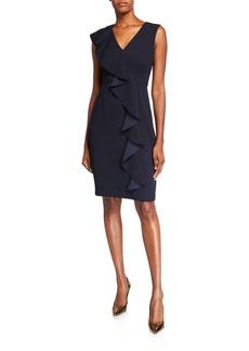 Eliza J Asymmetric Ruffle V-Neck Sheath Dress