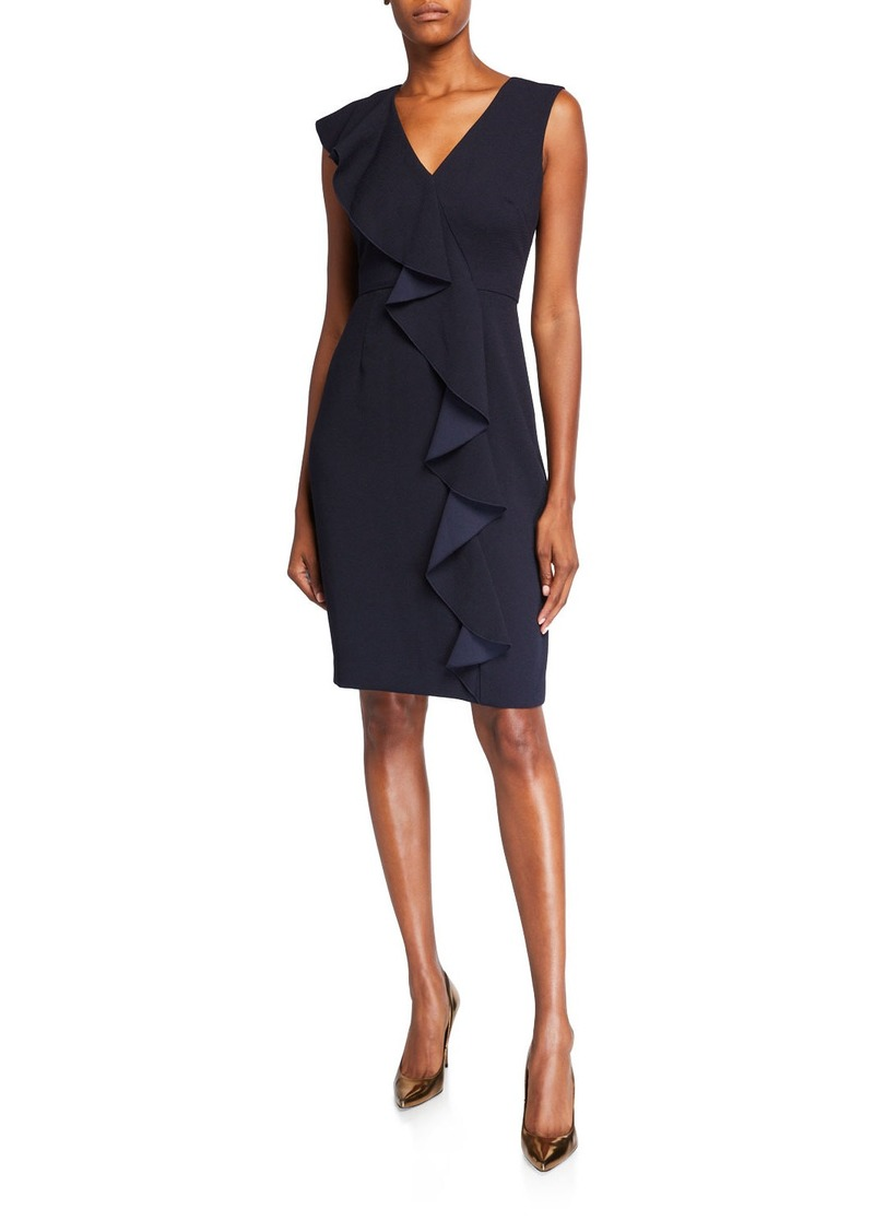 Eliza J Asymmetric Ruffle V-Neck Sheath Dress