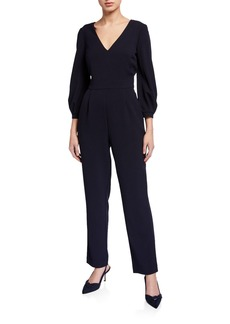 Eliza J Bubble-Sleeve Straight Leg Jumpsuit