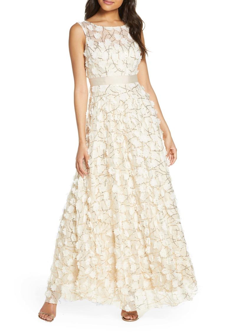 Eliza J 3D Floral Gown