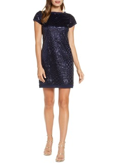 Eliza J Abstract Checkerboard Sequin Minidress