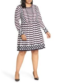 Eliza J Artwork Jacquard Sweater Dress (Plus Size)