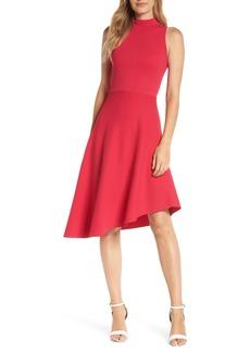 Eliza J Asymmetrical Fit & Flare Sweater Dress