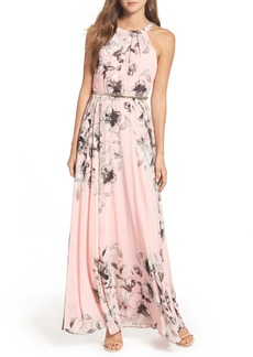 Eliza J Belted Chiffon Maxi Dress (Regular & Petite)