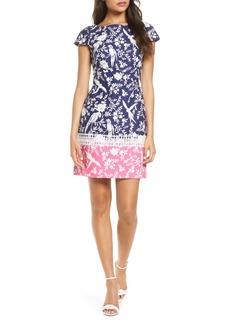 Eliza J Border Print Short Sleeve Dress