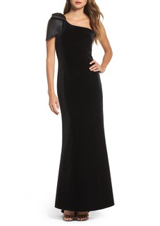 Eliza J Bow One-Shoulder Velvet Gown (Regular & Petite)