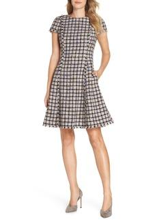 Eliza J Cap Sleeve Fit & Flare Dress (Regular & Petite)