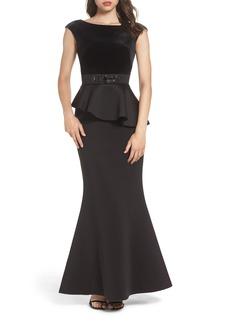 Eliza J Cap Sleeve Mixed Media Peplum Gown
