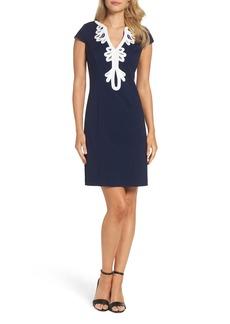 Eliza J Cap Sleeve Embroidered Sheath Dress