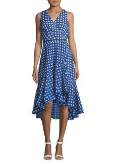 Eliza J Checkered Hi-Lo Wrap Dress