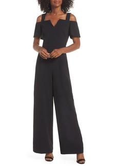 Eliza J Cold Shoulder V-Neck Jumpsuit (Regular & Petite)