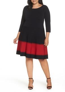 Eliza J Contrast Stripe Fit & Flare Dress (Plus Size)
