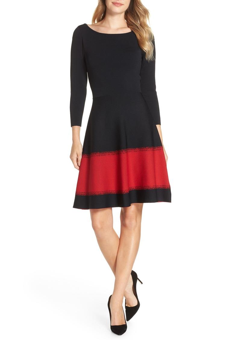 Eliza J Contrast Stripe Fit & Flare Dress (Regular & Petite)
