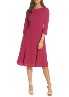 Eliza J Crepe Fit & Flare Dress