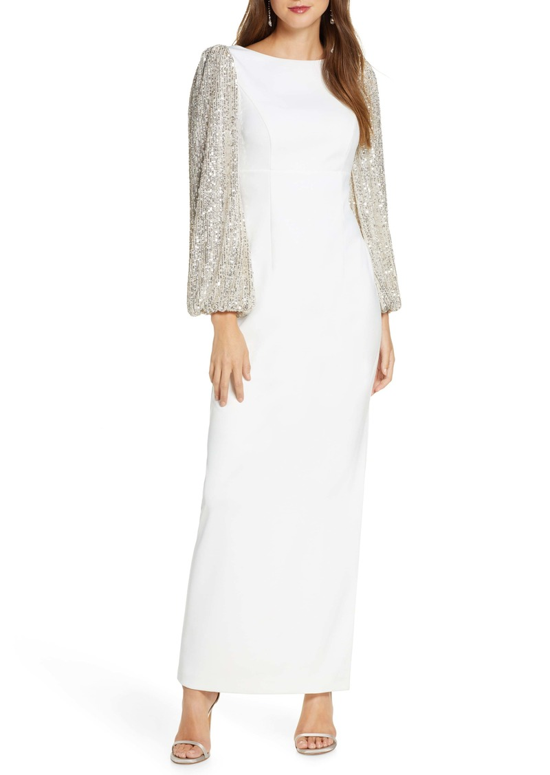 Eliza J Crepe V-Back Gown with Sequin Long Sleeves