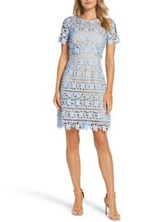 Eliza J Lace Overlay Sheath Dress (Regular & Petite)
