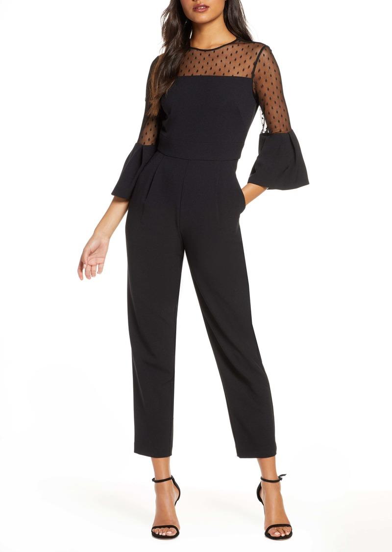Eliza J Dot Mesh Bell Sleeve Jumpsuit