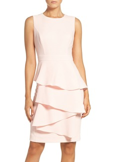 Eliza J Ella Ruffle Cascade Crepe Sheath Dress (Regular & Petite)