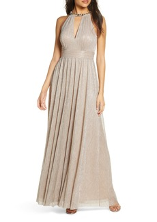 Eliza J Embelished Halter Metallic Knit Gown